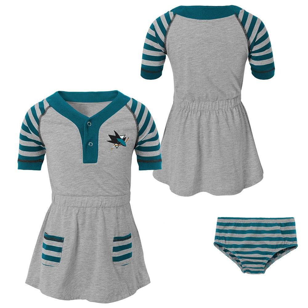 San Jose Sharks Girls' Infant/Toddler Striped Gray Dress - 4T, Multicolored