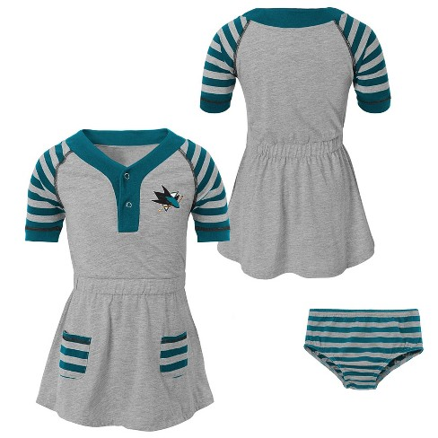 NHL San Jose Sharks Girls' Infant/Toddler Striped Gray Dress - image 1 of 4