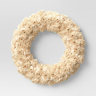 "21"" Artificial Shola Wreath White - Threshold™"