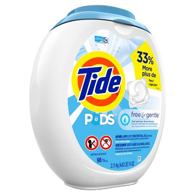 Tide Pods Laundry Detergent Pacs - Free & Gentle - 96ct