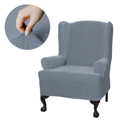 Collin Wingchair Stretch Slipcover Blue - Zenna Home