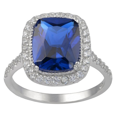 4 1/8 CT. T.W. Cushion-Cut Cubic Zirconia Basket Set Halo Ring in Sterling Silver - Blue - image 1 of 2