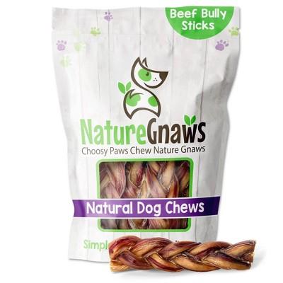 "Nature Gnaws Braided Bully Sticks 5-6"" Beef Dog Treats- 10ct"
