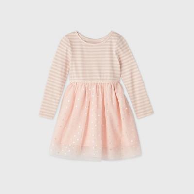 Toddler Girls' Sparkle Tulle Long Sleeve Dress - Cat & Jack™ Light Pink