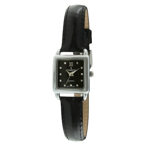 Women's Peugeot® Mini Square Crystal Marker Leather Strap Watch - Silver and Black - image 1 of 2