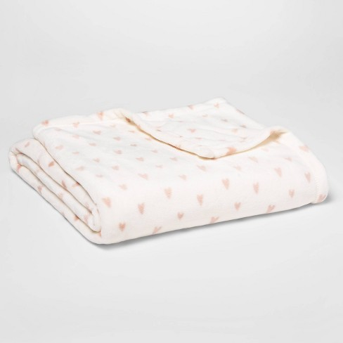 Printed Mini Hearts Plush Throw Cream/Blush - Room Essentials™ - image 1 of 1