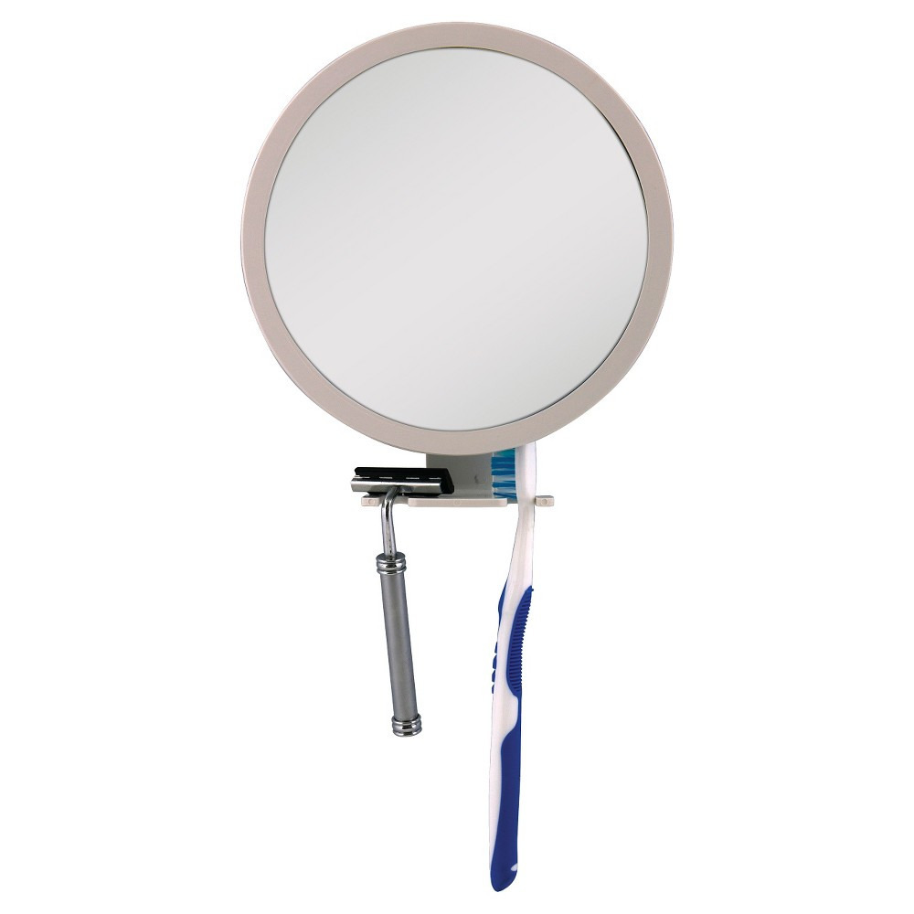 Image of Shower Mirror White with Accessory Holder - 5X/1X - Zadro Z'Fogless