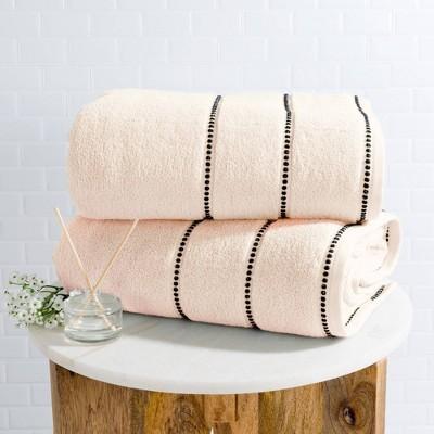 2pc Luxury Cotton Bath Towels Set Peach - Yorkshire Home