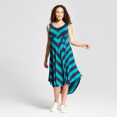 Maternity Sleeveless Bias Rugby Stripe Dress - Isabel Maternity by Ingrid & Isabel™ Navy/Green XL