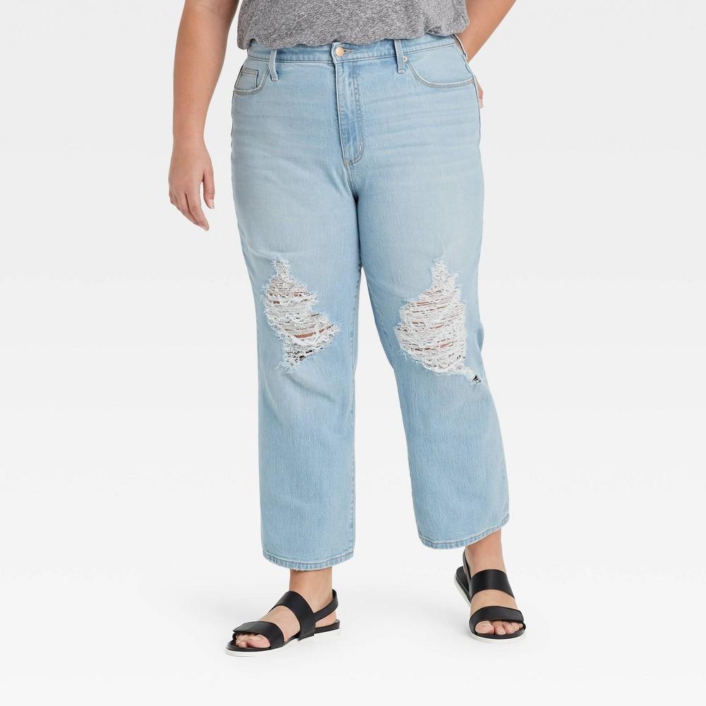 Women 39 S Plus Size High Rise Vintage Straight Cropped Jeans Universal Thread 8482 Light Denim Blue 14w