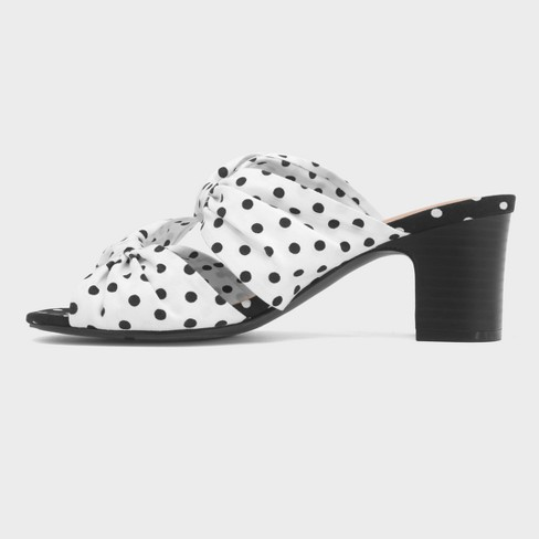 a6a64cb209d04 Women's Poppy Polka Dot Bow Two Band Heeled Pumps - Who What Wear™ White 6.5