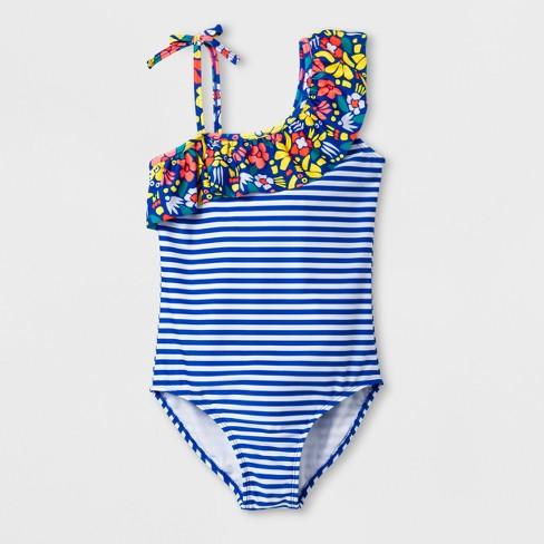 606fd07099d Girls  Zamba Love One Piece Swimsuit - Cat   Jack™ Blue XL Plus   Target