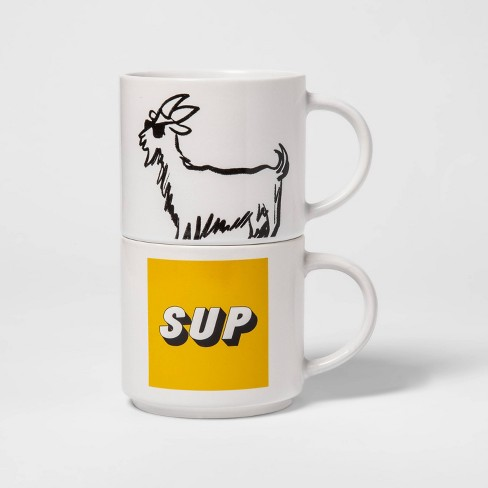 Wondrous 15Oz 2Pk Stoneware Sup And Goat Mugs White Room Essentials Home Interior And Landscaping Spoatsignezvosmurscom