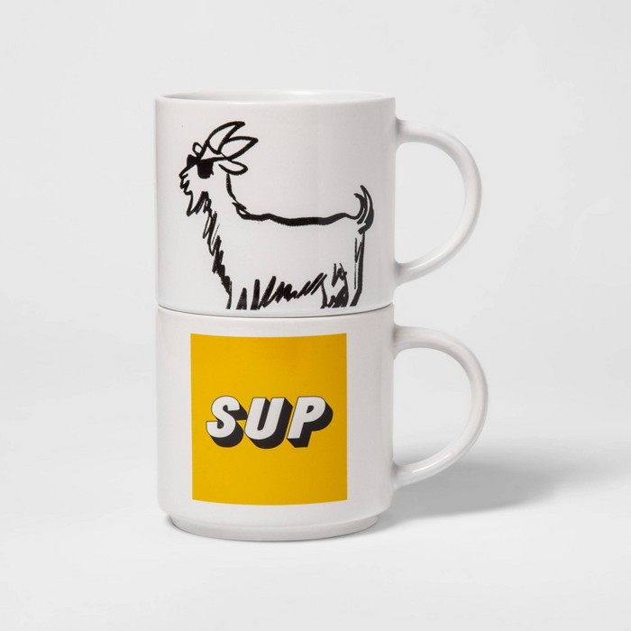 15oz 2pk Stoneware Sup and Goat Mugs White - Room Essentials™ - image 1 of 2