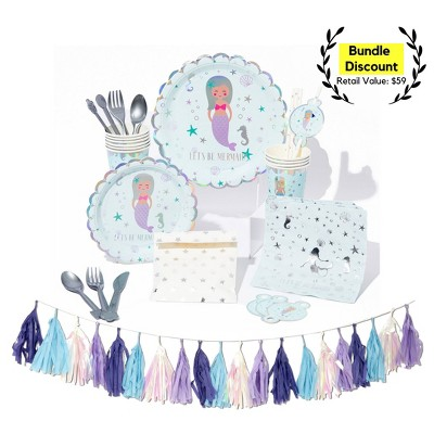 91pc Mermaid Party Supplies Great Value Essential Dash Kit