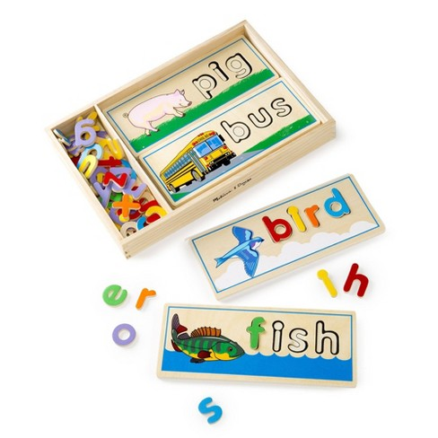 Melissa & Doug See & Spell Wooden Educational Toy With 8 Double-Sided Spelling Boards and 64 Letters - image 1 of 4