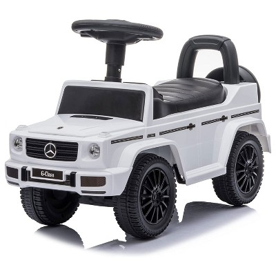 Best Ride On Cars Kids Outdoor Stroller Mercedes G-Wagon Push Car with Working Lights, Horn, and Music for Ages 1 to 3 years, White