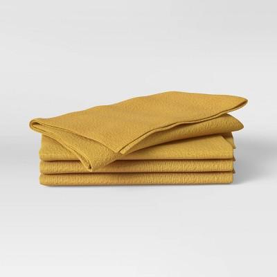 4pk Cotton Easy Care Napkins Yellow - Threshold™