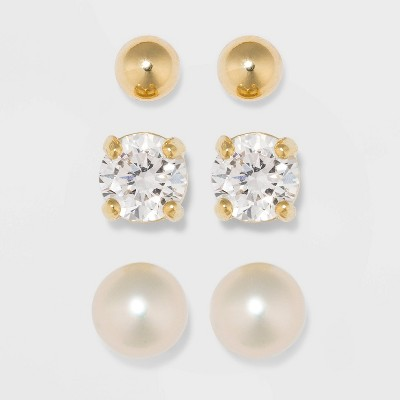 Gold Over Sterling Silver Cubic Zirconia and Freshwater Pearl Fine Jewelry Earrings 3pc - A New Day™ Gold/Clear