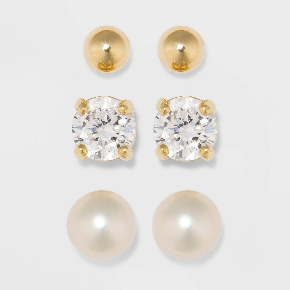 Gold Over Sterling Silver Cubic Zirconia and Freshwater Pearl Fine Jewelry Earrings 3 Pair - A New Day Gold/Clear