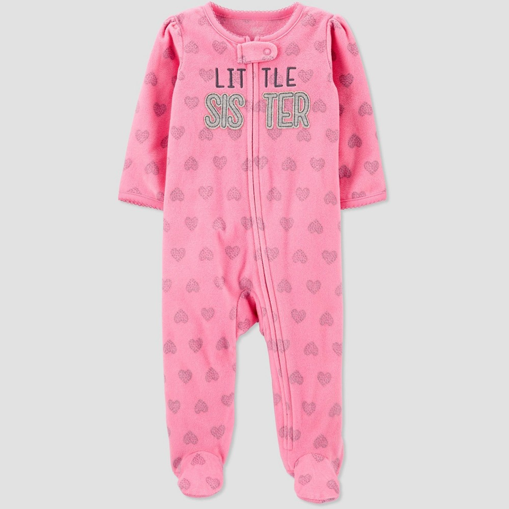 Image of Baby Girls' Little Sister Striped Fleece Sleep 'N Play - Just One You made by carter's Pink 6M, Girl's