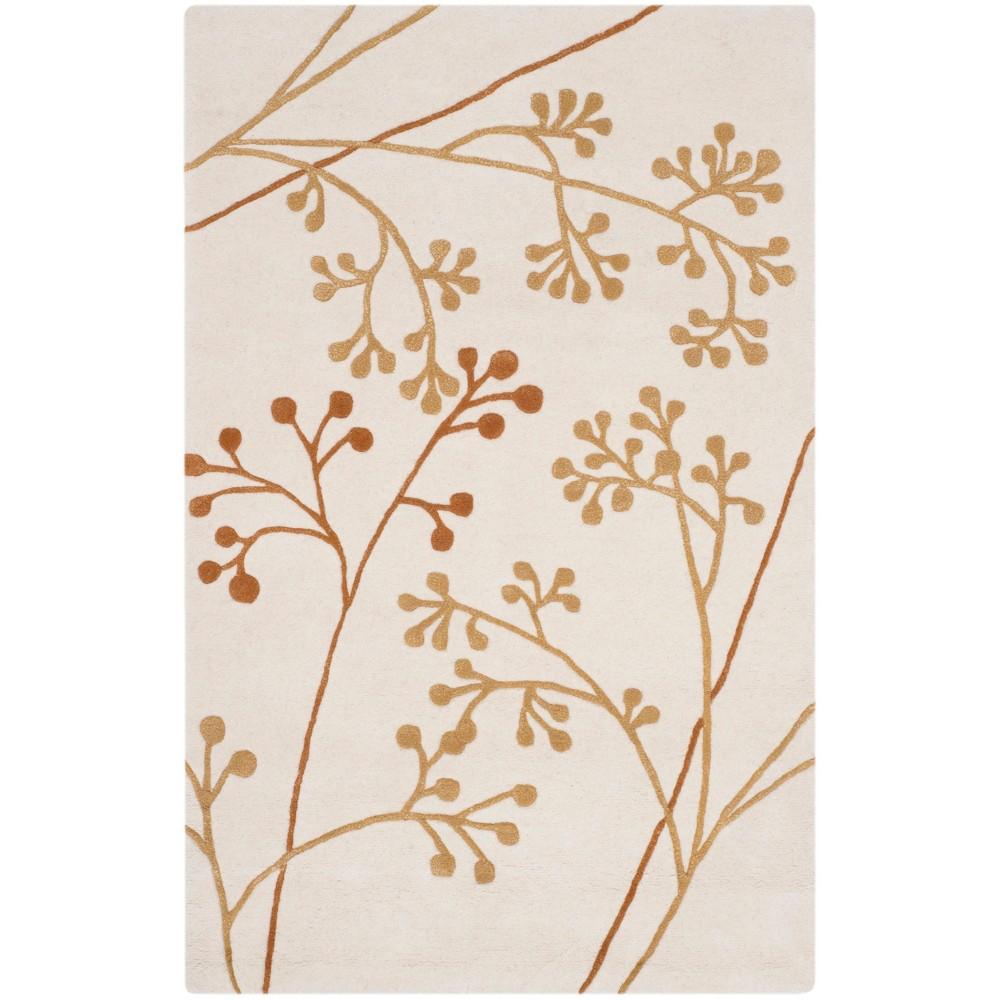 5'X8' Floral Tufted Area Rug Ivory/Orange - Safavieh