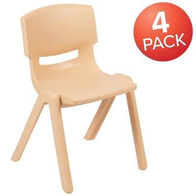 "Flash Furniture 4 Pack Plastic Stackable School Chairs with 13.25"" Seat Height"