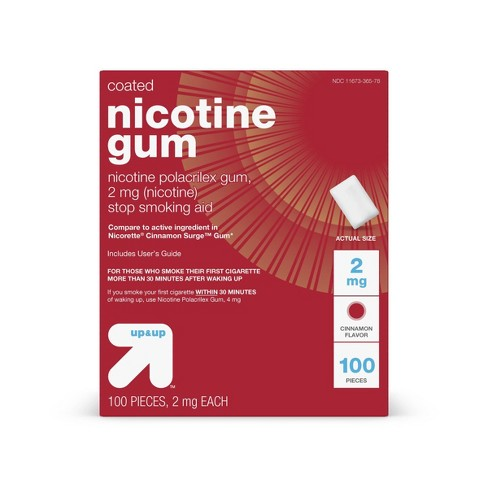 Coated Nicotine 2mg Stop Smoking Aid Gum - Cinnamon - (Compate to Nicorette Cinnamon Surge Gum) - 100ct - Up&Up™ - image 1 of 4