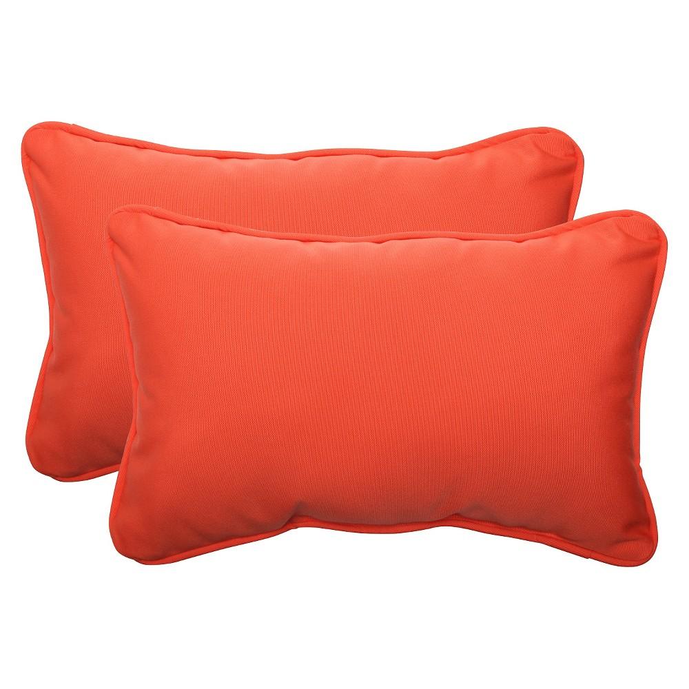 Image of Sunbrella Canvas Outdoor 2-Piece Lumbar Throw Pillow Set - Orange, Melon Ball