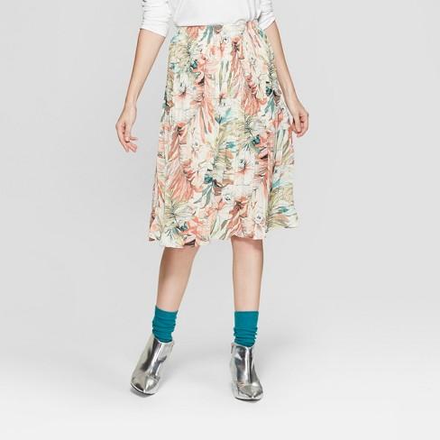 Women's Floral Print Pleated Midi Skirt - Spenser Jeremy - Tan - image 1 of 2