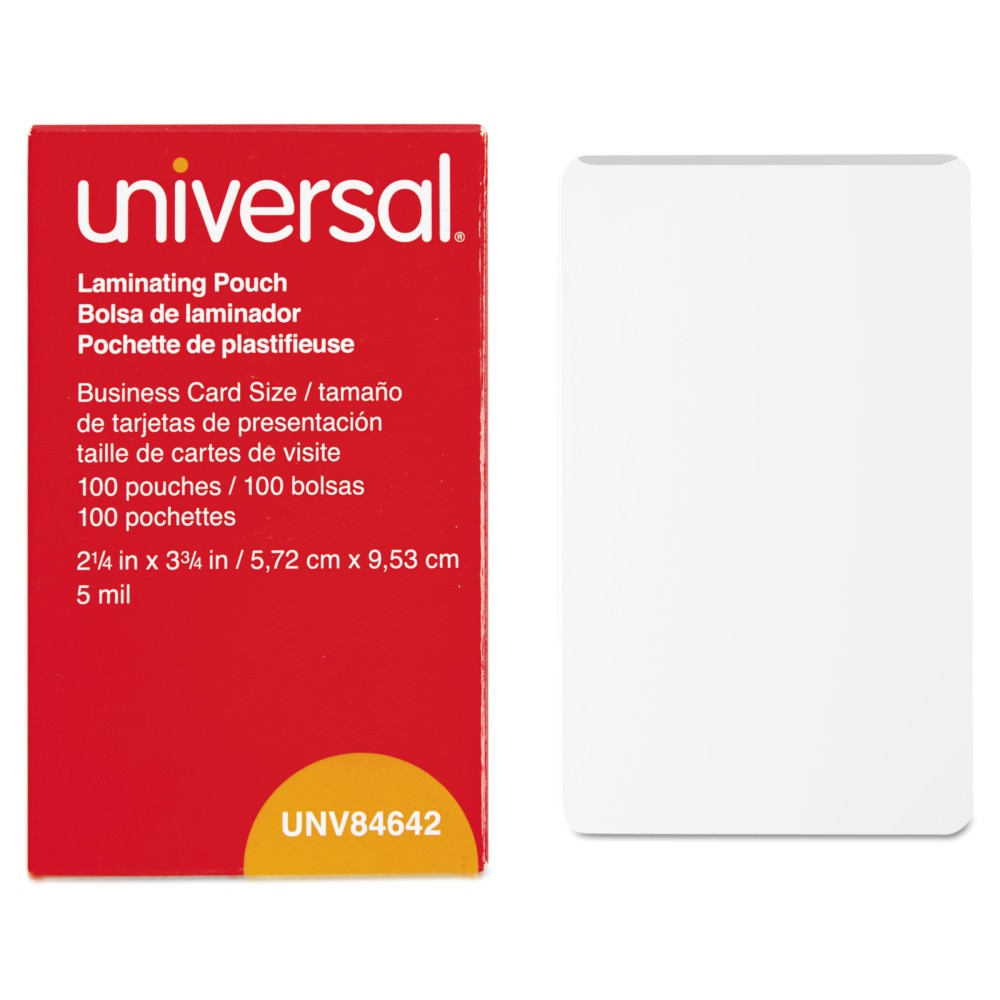 Universal Clear Laminating Pouches, 5 mil, 2.25 X 3.75, Business Card Size, 100 ct