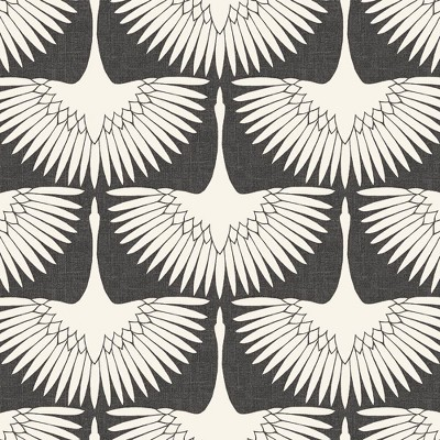 Tempaper Feather Flock Peel and Stick Wallpaper Storm Gray