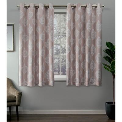 52 x84  Medallion Blackout Grommet Top Window Curtain Panel Pair Blush - Exclusive Home