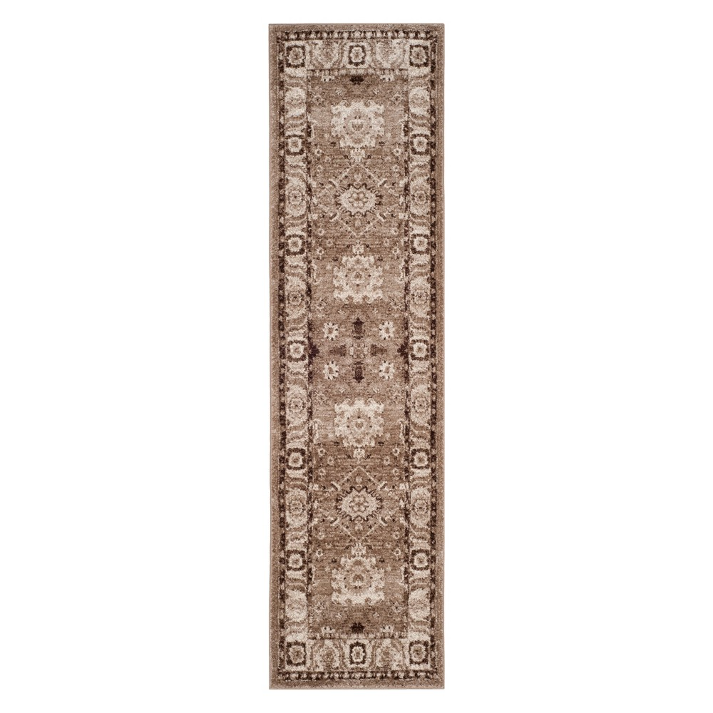Floral Loomed Area Rug Taupe