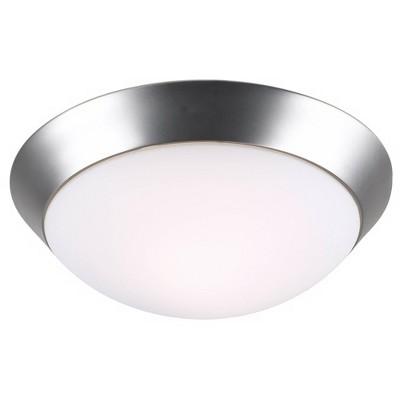 "360 Lighting Modern Ceiling Light Flush Mount Fixture Brushed Nickel 13"" Wide Frosted Glass Dome for Bedroom Kitchen Bathroom"