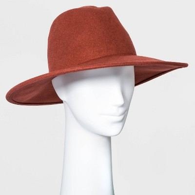 Women's Wide Brim Felt Fedora Hat - Universal Thread™ Burgundy