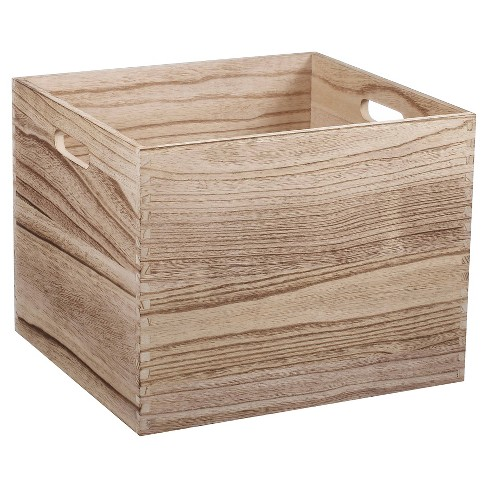 Large Wood Milk Crate Toy Storage Bin - Pillowfort™ - image 1 of 4