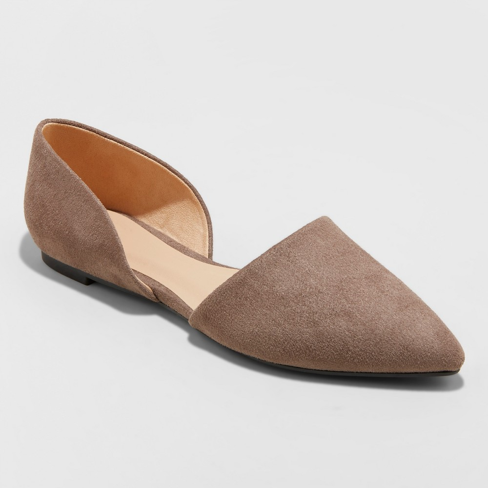 Women's Rebecca Microsuede Wide Width Pointed Two Piece Ballet Flats - A New Day Taupe (Brown) 7W, Size: 7Wide