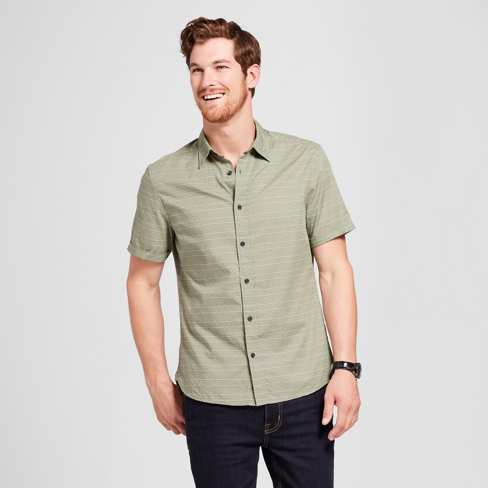 Men's Short Sleeve Cotton Novelty Button-Down Shirt - Goodfellow & Co Pioneer Sage Xxl