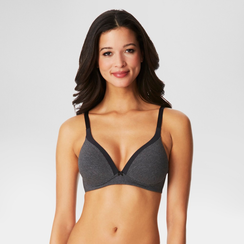 Simply Perfect by Warner's Women's Cotton Back Smoothing Wire-Free Bra RM0151T - Dark Gray Heather 36A