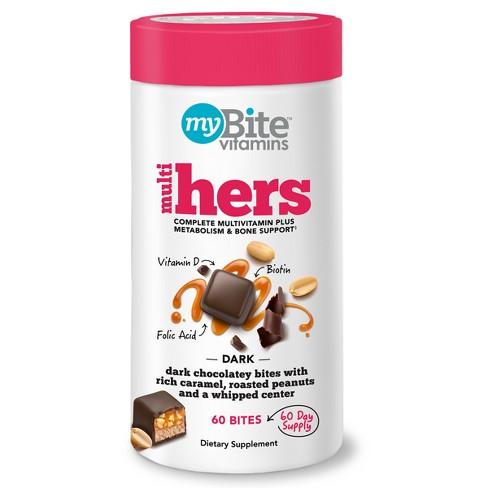 MyBite Hers - Women's Multivitamin Chewables - Dark Chocolatey Peanut - 60ct - image 1 of 5