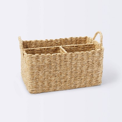 Woven Diaper Caddy with Dividers - Cloud Island™ Natural Woven