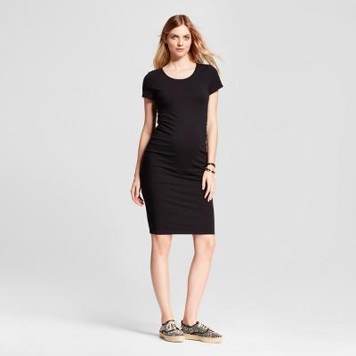 Maternity Short Sleeve Shirred T-Shirt Dress - Isabel Maternity™ by Ingrid & Isabel® Black XL