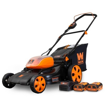 """WEN 40439 40V Max 19"""" Cordless 3-in-1 Lawn Mower With Two Batteries 16gal Bag & Charger"""