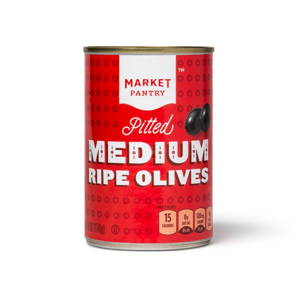 Medium Pitted Black Olives 6oz Market Pantry 8482