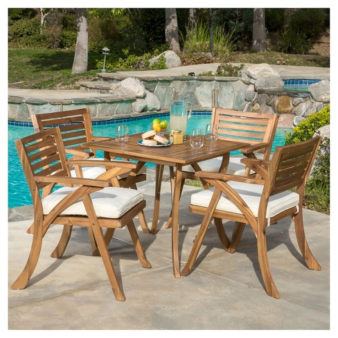 Wondrous Hermosa 5Pc Acacia Wood Patio Dining Set With Cushions Teak Finish Christopher Knight Home Download Free Architecture Designs Jebrpmadebymaigaardcom