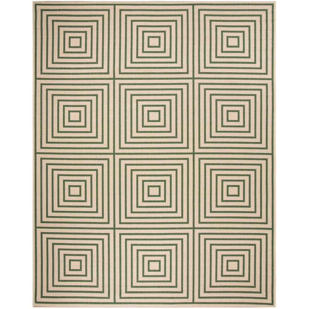 8'X10' Geometric Loomed Area Rug Cream/Green (Ivory/Green) - Safavieh