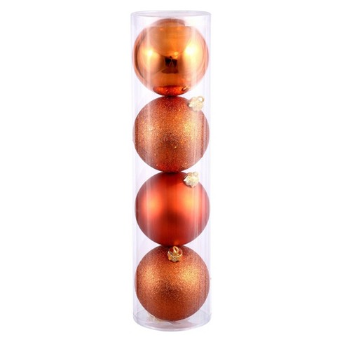 4ct Burnt Orange Assorted Finishes Ball Shatterproof Christmas Ornament Set - image 1 of 1