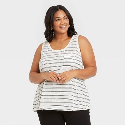 Women's Plus Size Linen Tank Top - Ava & Viv™