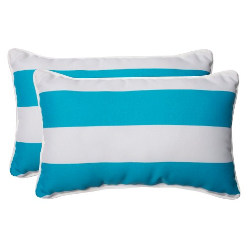 Pillow Perfect Cabana Stripe Outdoor 2 Piece Lumbar Throw Pillow